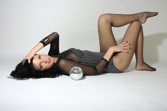 Sexy beautiful woman with discoball Stock Image