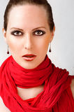 beautiful woman with red scarf Stock Photos