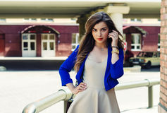 Sexy beautiful woman. Fashion model style clothes casual dress for party office accessory silk jewelry street look summer collection walk outside outdoor Stock Images