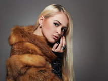 Sexy beautiful Woman in Fur. winter Beauty Fashion Model Girl Royalty Free Stock Photography