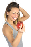 Sexy beautiful woman holding green apple fruit in healthy natural nutrition and fitness concept Royalty Free Stock Photos