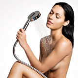 Sexy beautiful woman in shower washing  body Royalty Free Stock Images
