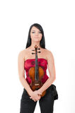sexy beautiful woman with violin Royalty Free Stock Image