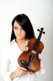 Sexy beautiful woman with violin Royalty Free Stock Photography