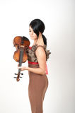 Sexy beautiful woman with violin Stock Image
