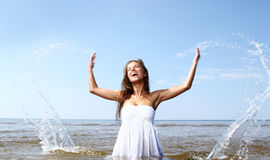 and beautiful woman in the water Royalty Free Stock Image