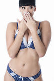 Sexy Beautiful Young Embarrassed Woman Wearing Navy Blue and White Lacy Lingerie Stock Photos