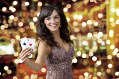 Sexy beautiful young girl in casino Stock Image