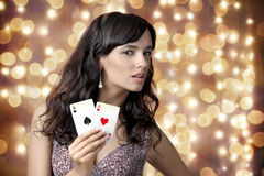 Sexy beautiful young girl in casino Royalty Free Stock Photos