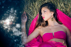 Sexy beautiful young lady with long hair in pink Stock Image