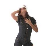 Sexy, beautiful, young woman dancing stock image