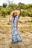 Sexy beautiful young woman fashion model wear long blue stylish Royalty Free Stock Image
