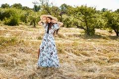 Sexy beautiful young woman fashion model wear long blue stylish Stock Photography