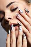 Sexy Beautiful Young Woman with manicure Stock Images