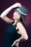 Sexy beautiful young woman with men's hat Stock Image