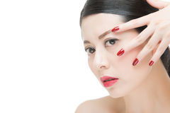 beauty asian red lipstick girl with nail polish finger Royalty Free Stock Photo