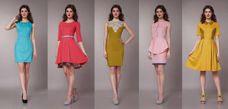 Sexy beauty business woman in fashion dress perfect slim body Stock Photos
