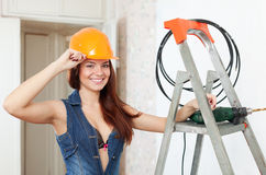 Sexy beauty girl in hardhat Royalty Free Stock Image