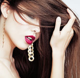 Sexy Beauty Girl with Red Lips and Nails. Provocative Make up. L Royalty Free Stock Images