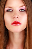 Beauty Girl with Red Lips and Nails royalty free stock image