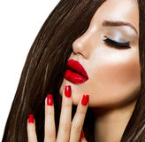 Beauty Girl. With Red Lips and Nails. Provocative Makeup Stock Photos