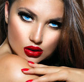 Sexy Beauty Girl. With Red Lips and Nails. Provocative Makeup Stock Photography