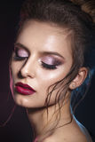 Sexy Beauty Girl with Red Lips . Provocative Make up. Gorgeous Woman Face Royalty Free Stock Images