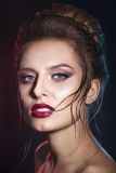 Sexy Beauty Girl with Red Lips . Provocative Make up. Gorgeous Woman Face Royalty Free Stock Photo