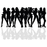 and beauty girl vector silhouette Stock Photo
