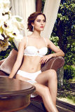 Sexy beauty lingerie woman body shape interior lace Stock Photo