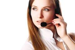 Sexy bedrijfsvrouw met hoofdtelefoons Royalty-vrije Stock Afbeeldingen
