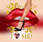 Sexy been en rode lippen vector illustratie