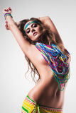 Sexy belly dancer in colourful long nacklace Stock Photos