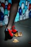 Sexy benen en rode pompen Royalty-vrije Stock Fotografie