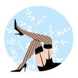 Sexy benen met zwarte hoge hielen Stock Fotografie