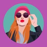 Sexy betoverend mooi meisje in zonnebril die een kus blazen vector illustratie