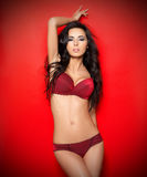 Sexy in biancheria rossa Fotografia Stock Libera da Diritti