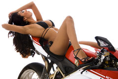 Sexy biker chick Stock Images