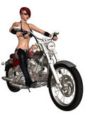 Sexy biker girl and her bike. 3d render of an sexy biker girl and her bike Stock Images