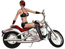 Sexy biker girl and her bike. 3d render of an sexy biker girl and her bike Royalty Free Stock Photos