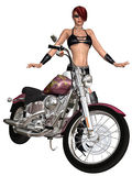 Sexy biker girl and her bike. 3d render of an sexy biker girl and her bike Stock Image