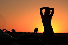 Biker Girl Silhouette Stock Photography