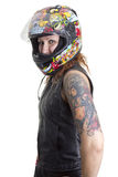 Sexy biker woman with helmet Royalty Free Stock Photo