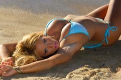 Bikini girl. Blonde bikini girl posing on the beach royalty free stock photos