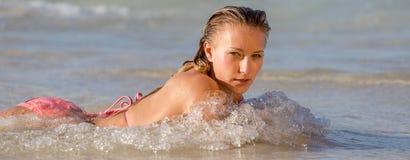Sexy Bikini girl looks self-confident Stock Photography