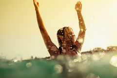 bikini girl swim sea waves splash vintage tone Stock Photography