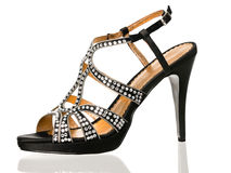Sexy black cocktail blingbling shoe Royalty Free Stock Photo