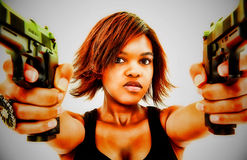 Sexy Black Female Aiming Two Handguns Stock Photos