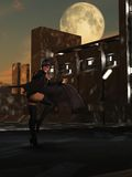 Sexy black female vampire hunting in the city. Ethnic African female winged  vampire with bared fangs in skimpy costume in urban setting as night falls Royalty Free Stock Image