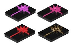 Sexy Black Gift Boxes with Bows Stock Photo